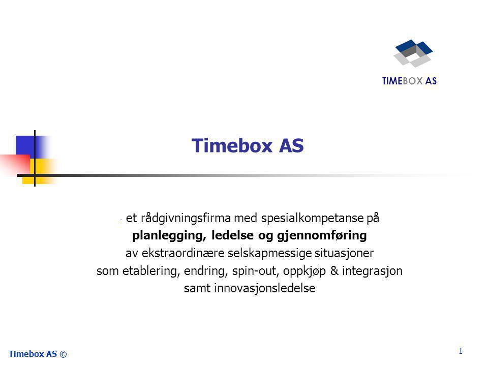 1 Timebox AS © Timebox AS - et rådgivningsfirma med spesialkompetanse på planlegging, ledelse og gjennomføring av ekstraordinære selskapmessige situasjoner som etablering, endring, spin-out, oppkjøp & integrasjon samt innovasjonsledelse TIMEBOX AS