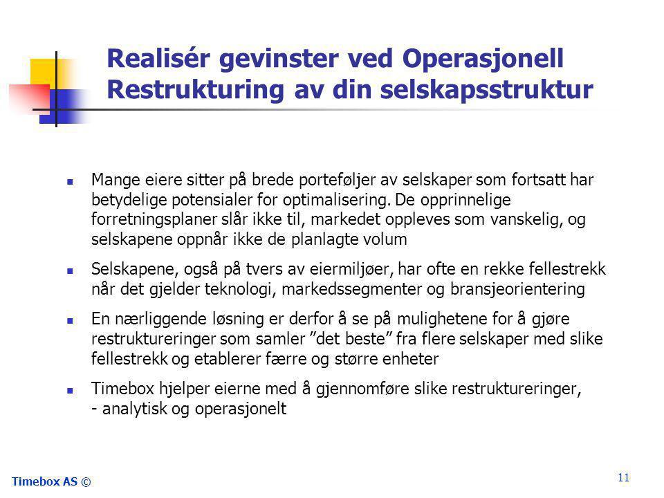 Timebox AS © 11 Realisér gevinster ved Operasjonell Restrukturing av din selskapsstruktur  Mange eiere sitter på brede porteføljer av selskaper som fortsatt har betydelige potensialer for optimalisering.