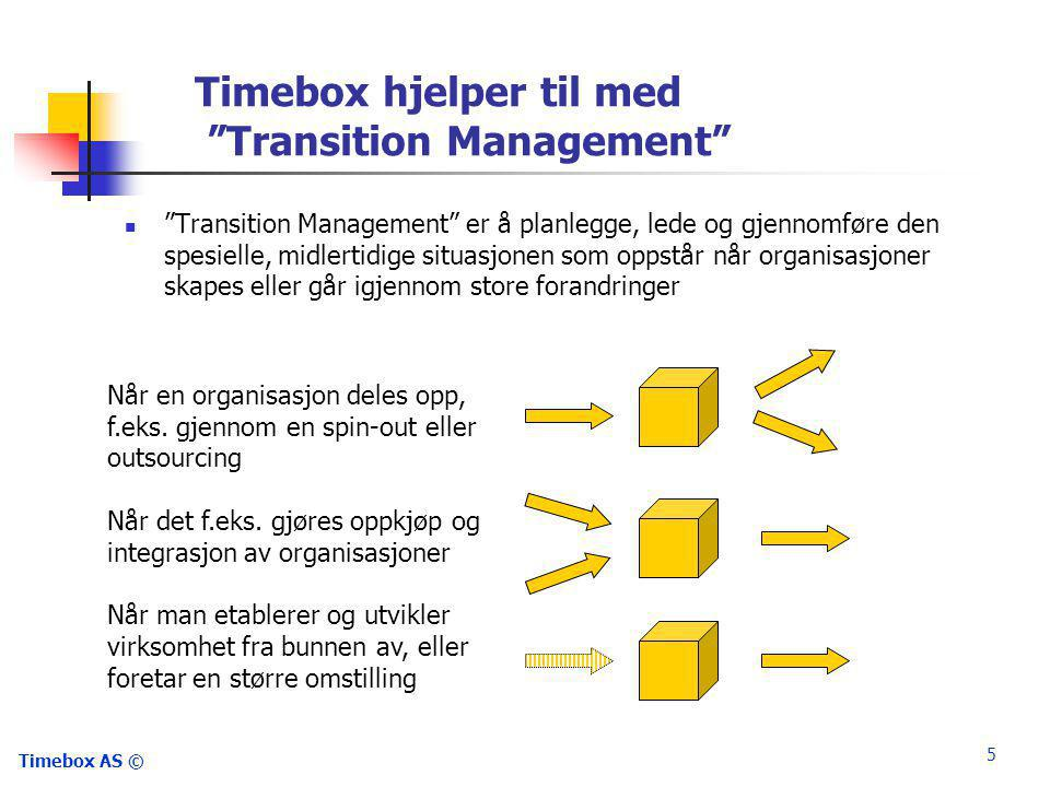 "Timebox AS © 5 Timebox hjelper til med ""Transition Management"" Når en organisasjon deles opp, f.eks. gjennom en spin-out eller outsourcing Når det f.e"
