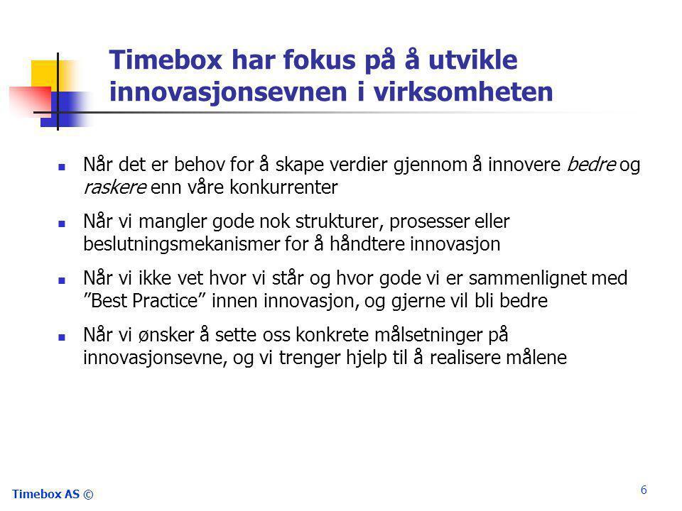Timebox AS © 6 Timebox har fokus på å utvikle innovasjonsevnen i virksomheten  Når det er behov for å skape verdier gjennom å innovere bedre og raskere enn våre konkurrenter  Når vi mangler gode nok strukturer, prosesser eller beslutningsmekanismer for å håndtere innovasjon  Når vi ikke vet hvor vi står og hvor gode vi er sammenlignet med Best Practice innen innovasjon, og gjerne vil bli bedre  Når vi ønsker å sette oss konkrete målsetninger på innovasjonsevne, og vi trenger hjelp til å realisere målene