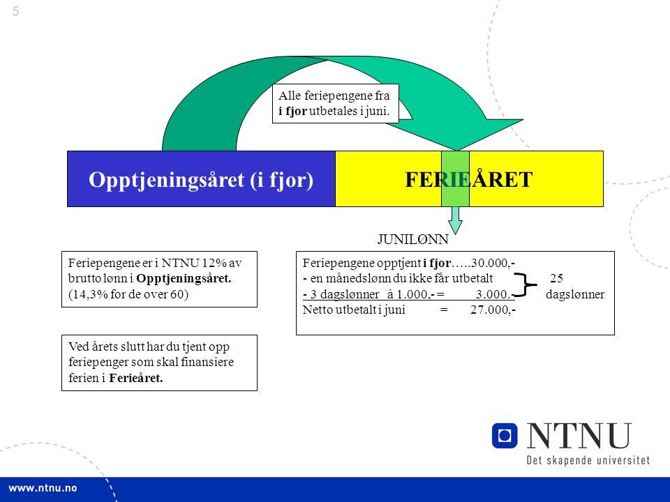 5 Opptjeningsåret (i fjor) Feriepengene er i NTNU 12% av brutto lønn i Opptjeningsåret. (14,3% for de over 60) Ved årets slutt har du tjent opp feriep