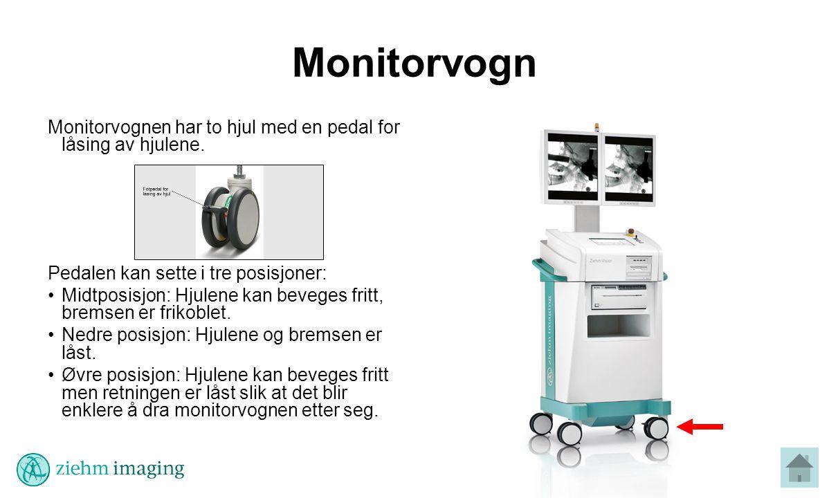 Monitorvogn Monitorvognen har to hjul med en pedal for låsing av hjulene.