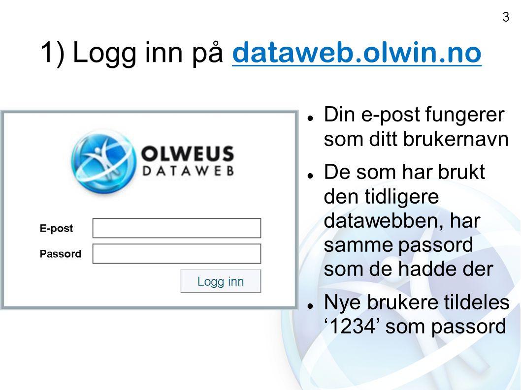 1) Logg inn på dataweb.olwin.no  Din e-post fungerer som ditt brukernavn  De som har brukt den tidligere datawebben, har samme passord som de hadde der  Nye brukere tildeles '1234' som passord 3