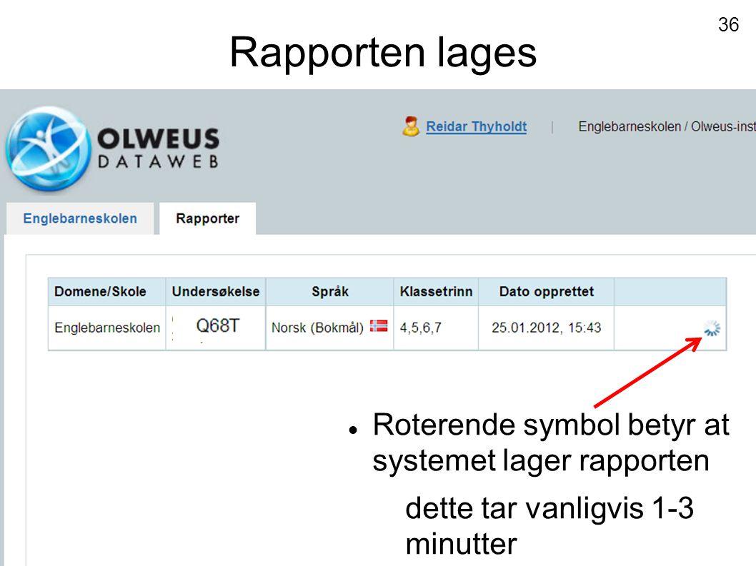 Rapporten lages  Roterende symbol betyr at systemet lager rapporten dette tar vanligvis 1-3 minutter 36