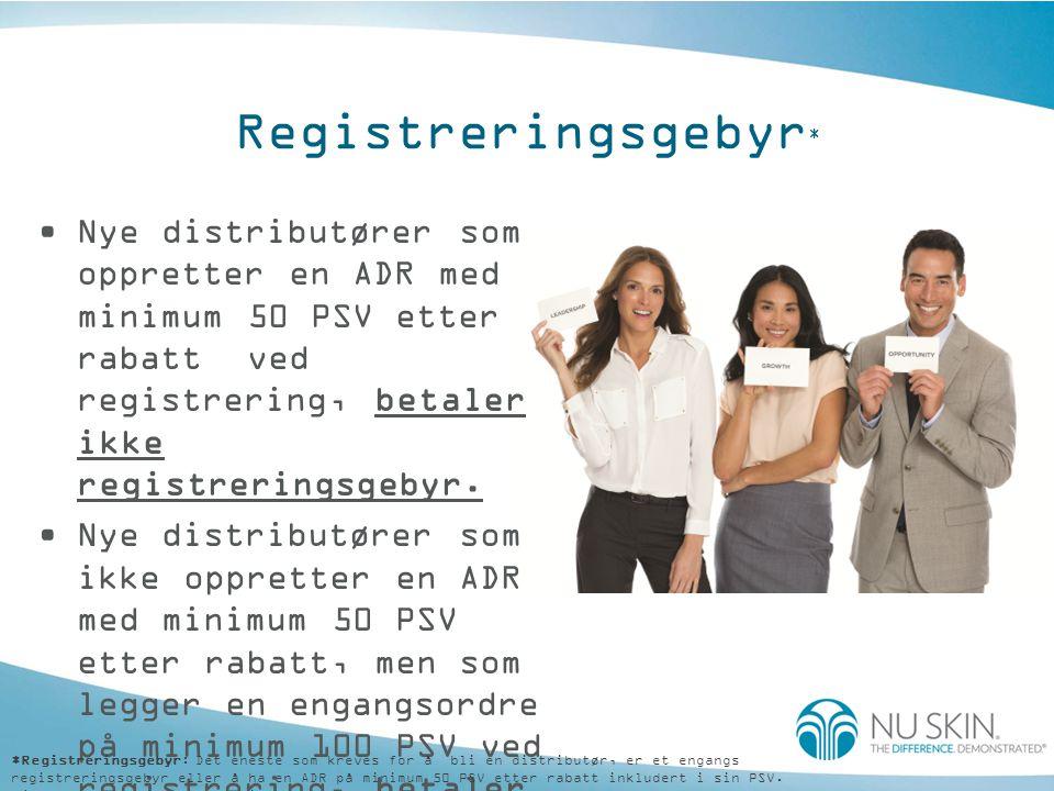 Registreringsgebyr * •Nye distributører som oppretter en ADR med minimum 50 PSV etter rabatt ved registrering, betaler ikke registreringsgebyr.