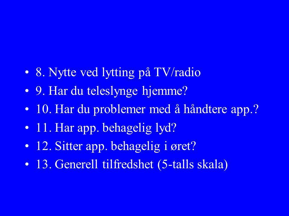 •8.Nytte ved lytting på TV/radio •9. Har du teleslynge hjemme.
