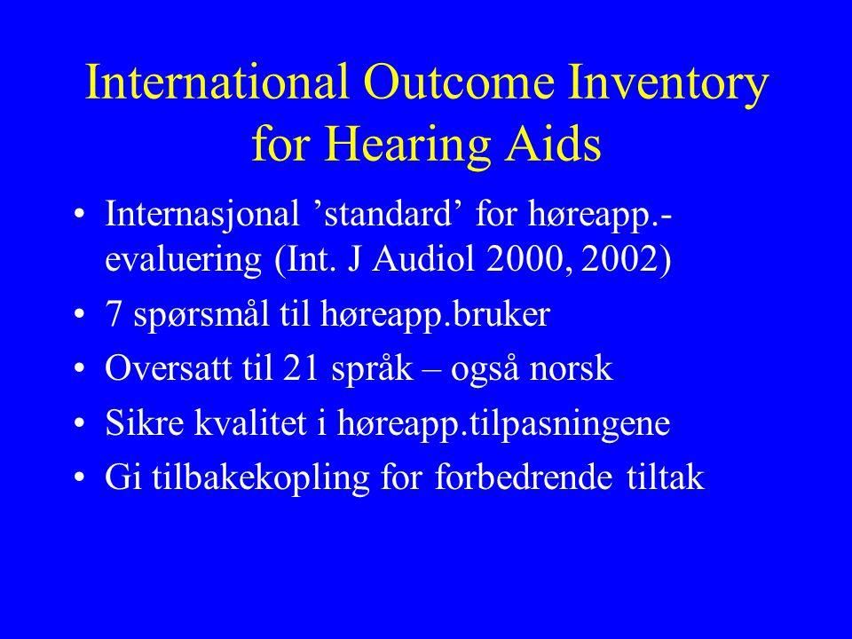 International Outcome Inventory for Hearing Aids •Internasjonal 'standard' for høreapp.- evaluering (Int.