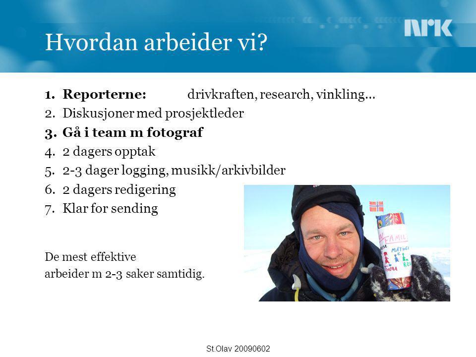 Hvordan arbeider vi? 1.Reporterne: drivkraften, research, vinkling… 2.Diskusjoner med prosjektleder 3.Gå i team m fotograf 4.2 dagers opptak 5.2-3 dag