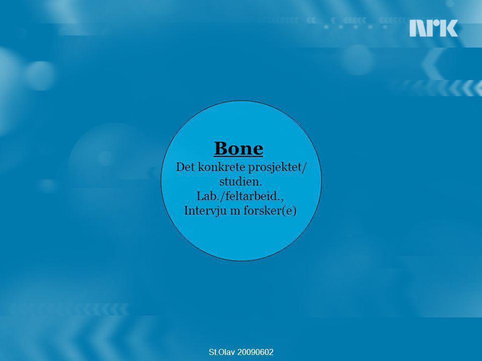 g Flesh Relevanse for seerne, personer/case som er berørt av forskn.feltet, sekvenser som forklarer for seerne, Pro & Con St.Olav 20090602 Bone Det konkrete prosjektet/ studien.