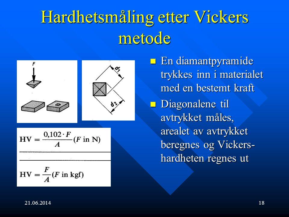 21.06.201418 Hardhetsmåling etter Vickers metode  En diamantpyramide trykkes inn i materialet med en bestemt kraft  Diagonalene til avtrykket måles,