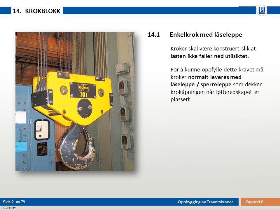 Kapittel 6Oppbygging av Traverskraner © Copyright Side 2 av 79 14.1 Enkelkrok med låseleppe Kroker skal være konstruert slik at lasten ikke faller ned