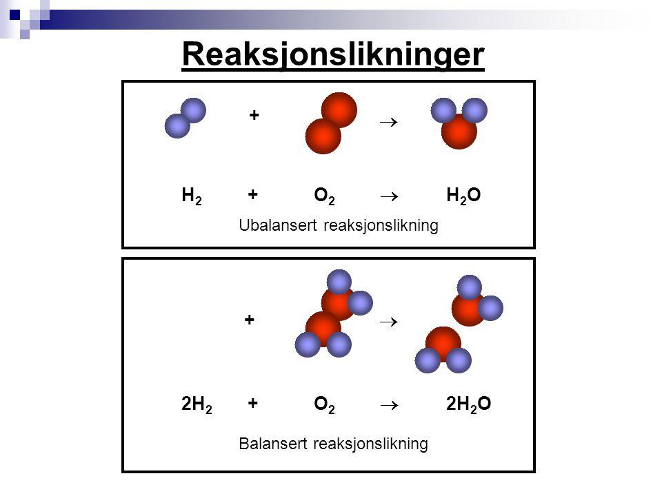 Bokstaver beskriver stofftilstanden  (s) = fast stoff (solid på engelsk)  (l) = væske (liquid på engelsk)  (g) = gass (gas på engelsk)  (aq) = løst i vann (vann heter aqua på latin)  Med disse symbolene vil reaksjonslikningen mellom hydrogengass og oksygengass se slik ut:  2H 2 (g) + O 2 (g)  2H 2 O (l)