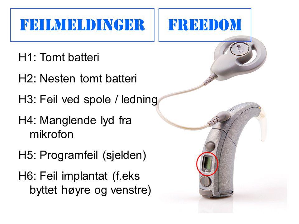 FeilmeldingerFreedom H1: Tomt batteri H2: Nesten tomt batteri H3: Feil ved spole / ledning H4: Manglende lyd fra mikrofon H5: Programfeil (sjelden) H6: Feil implantat (f.eks byttet høyre og venstre)