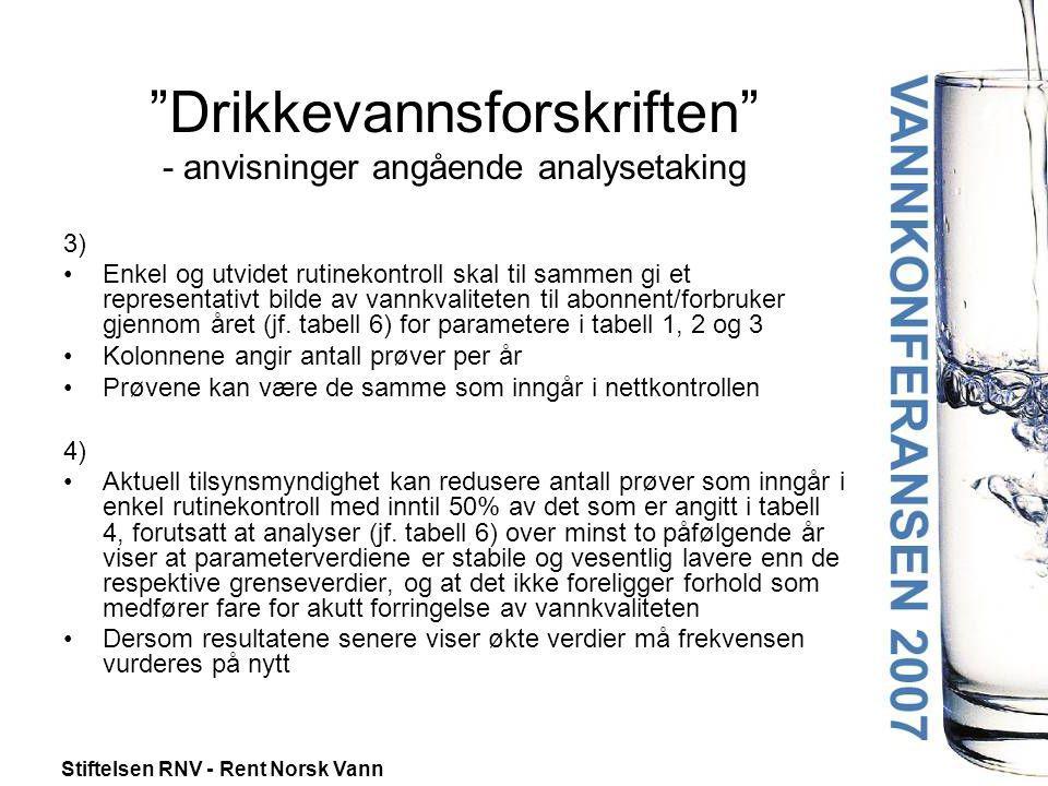 """Stiftelsen RNV - Rent Norsk Vann """"Drikkevannsforskriften"""" - anvisninger angående analysetaking 3) •Enkel og utvidet rutinekontroll skal til sammen gi"""