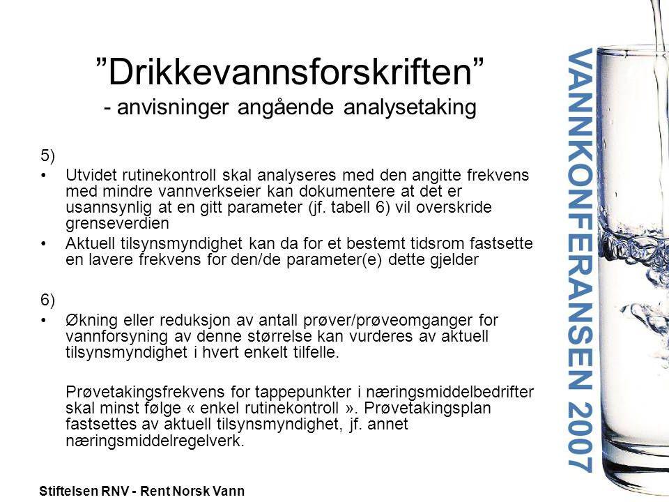 """Stiftelsen RNV - Rent Norsk Vann """"Drikkevannsforskriften"""" - anvisninger angående analysetaking 5) •Utvidet rutinekontroll skal analyseres med den angi"""