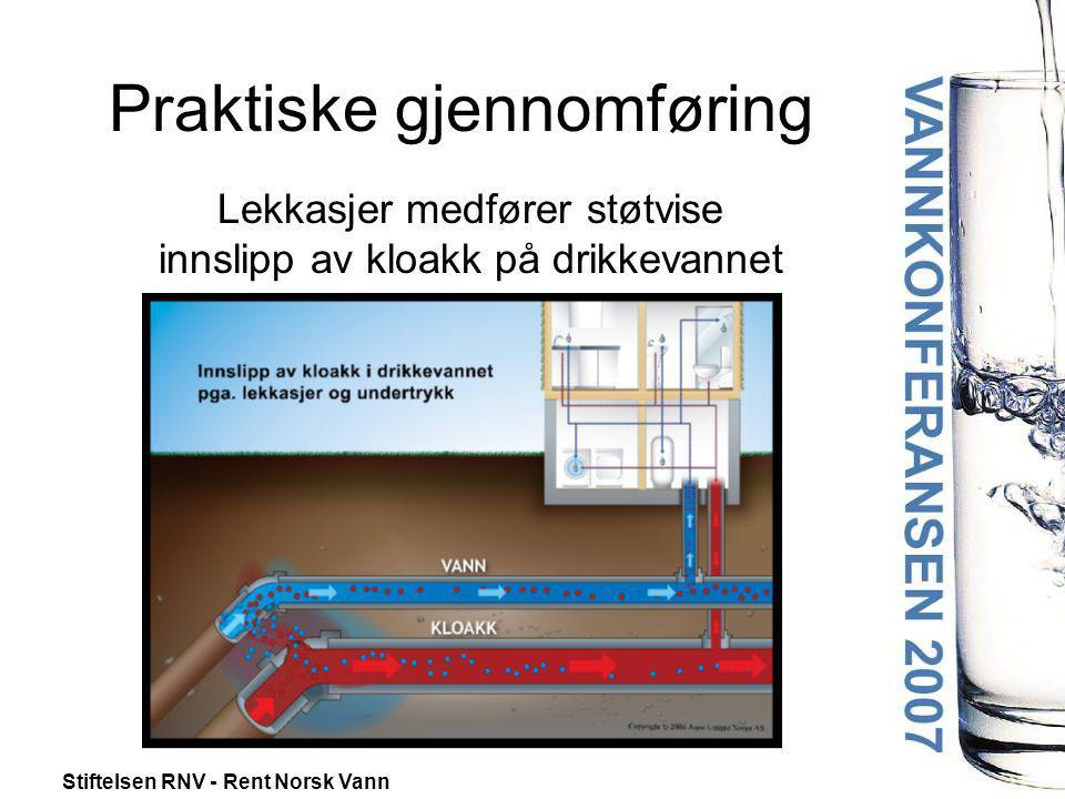 Stiftelsen RNV - Rent Norsk Vann Lekkasjer medfører støtvise innslipp av kloakk på drikkevannet Praktiske gjennomføring