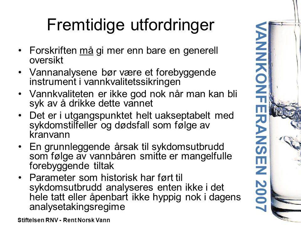 Stiftelsen RNV - Rent Norsk Vann Fremtidige utfordringer •Forskriften må gi mer enn bare en generell oversikt •Vannanalysene bør være et forebyggende