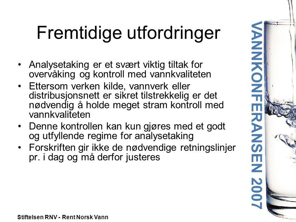 Stiftelsen RNV - Rent Norsk Vann Fremtidige utfordringer •Analysetaking er et svært viktig tiltak for overvåking og kontroll med vannkvaliteten •Etter
