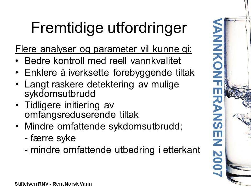 Stiftelsen RNV - Rent Norsk Vann Fremtidige utfordringer Flere analyser og parameter vil kunne gi: •Bedre kontroll med reell vannkvalitet •Enklere å i