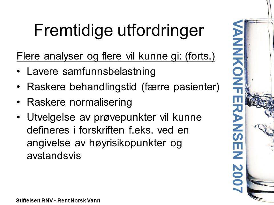 Stiftelsen RNV - Rent Norsk Vann Fremtidige utfordringer Flere analyser og flere vil kunne gi: (forts.) •Lavere samfunnsbelastning •Raskere behandling