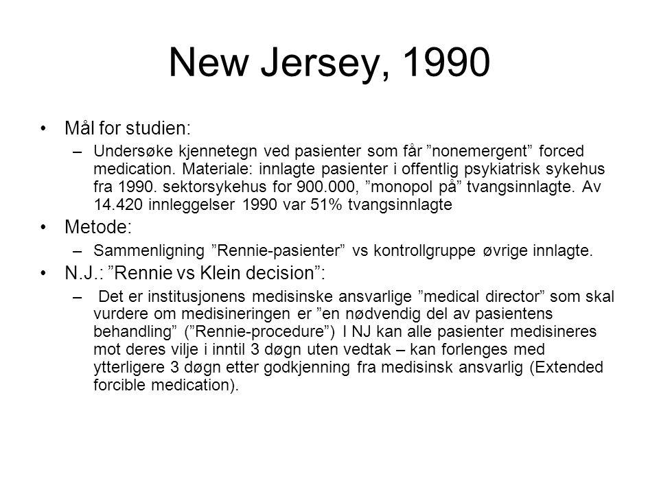 """New Jersey, 1990 •Mål for studien: –Undersøke kjennetegn ved pasienter som får """"nonemergent"""" forced medication. Materiale: innlagte pasienter i offent"""