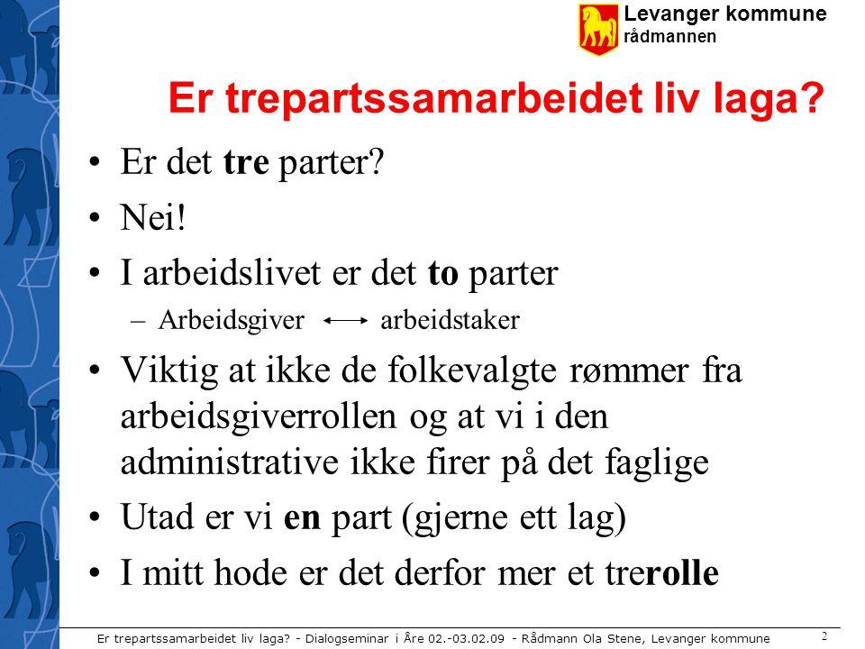 Levanger kommune rådmannen Er trepartssamarbeidet liv laga.