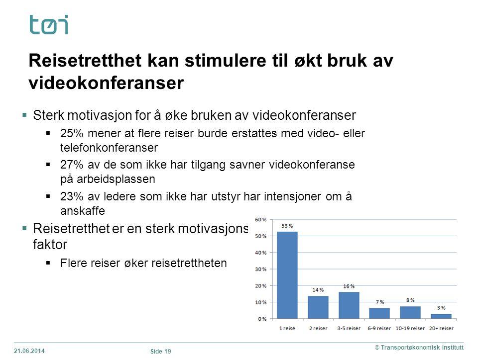 21.06.2014 Side 19 © Transportøkonomisk institutt  Sterk motivasjon for å øke bruken av videokonferanser  25% mener at flere reiser burde erstattes