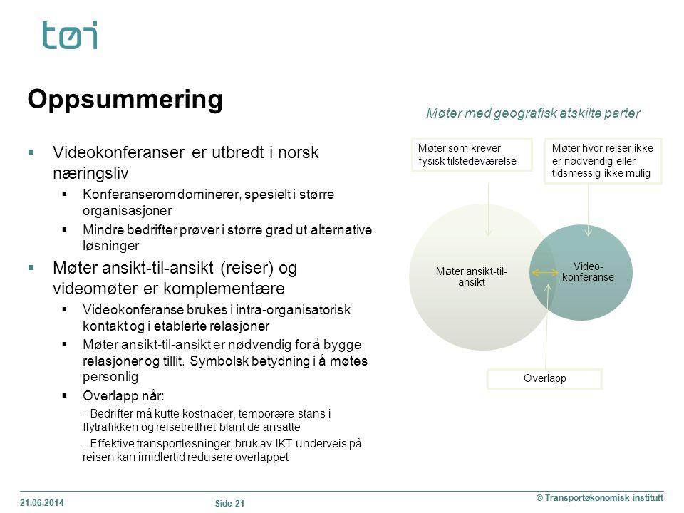 21.06.2014 Side 21 © Transportøkonomisk institutt Oppsummering  Videokonferanser er utbredt i norsk næringsliv  Konferanserom dominerer, spesielt i
