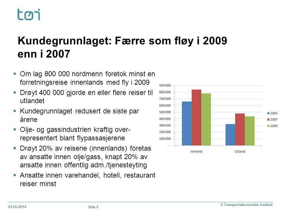 21.06.2014 Side 6 © Transportøkonomisk institutt Kundegrunnlaget: Færre som fløy i 2009 enn i 2007  Om lag 800 000 nordmenn foretok minst en forretni