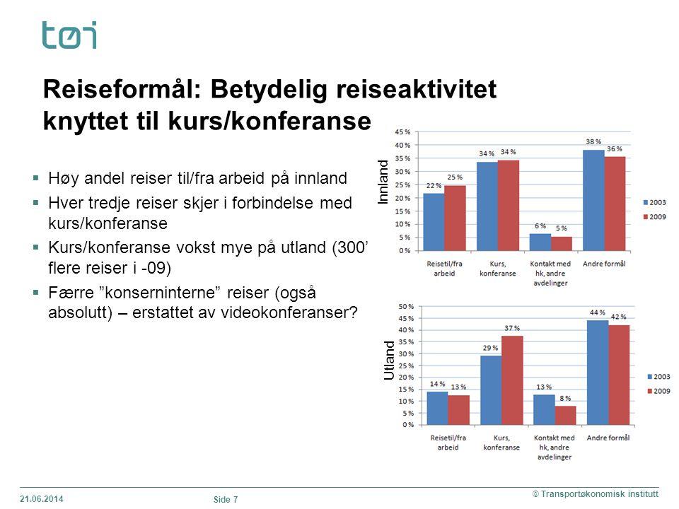 21.06.2014 Side 7 © Transportøkonomisk institutt Reiseformål: Betydelig reiseaktivitet knyttet til kurs/konferanse Innland Utland  Høy andel reiser t