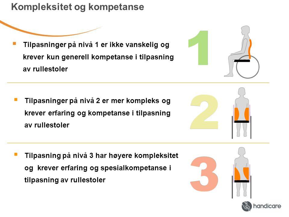 1 Kompleksitet og kompetanse  Tilpasninger på nivå 1 er ikke vanskelig og krever kun generell kompetanse i tilpasning av rullestoler  Tilpasninger på nivå 2 er mer kompleks og krever erfaring og kompetanse i tilpasning av rullestoler  Tilpasning på nivå 3 har høyere kompleksitet og krever erfaring og spesialkompetanse i tilpasning av rullestoler 2 3 1 2 3