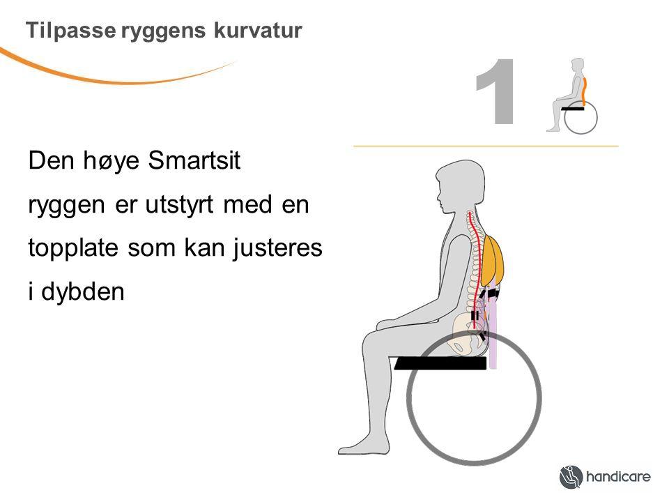 1 Tilpasse ryggens kurvatur Den høye Smartsit ryggen er utstyrt med en topplate som kan justeres i dybden