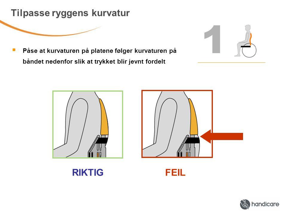1 Tilpasse ryggens kurvatur  Påse at kurvaturen på platene følger kurvaturen på båndet nedenfor slik at trykket blir jevnt fordelt RIKTIGFEIL