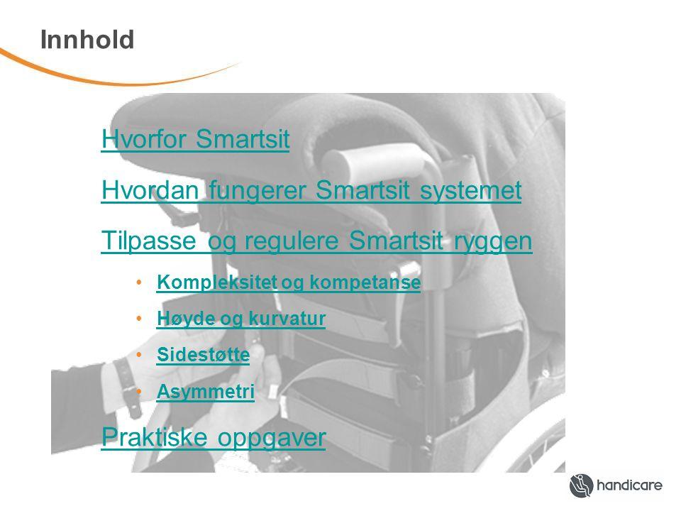 Innhold Hvorfor Smartsit Hvordan fungerer Smartsit systemet Tilpasse og regulere Smartsit ryggen •Kompleksitet og kompetanseKompleksitet og kompetanse •Høyde og kurvaturHøyde og kurvatur •SidestøtteSidestøtte •AsymmetriAsymmetri Praktiske oppgaver
