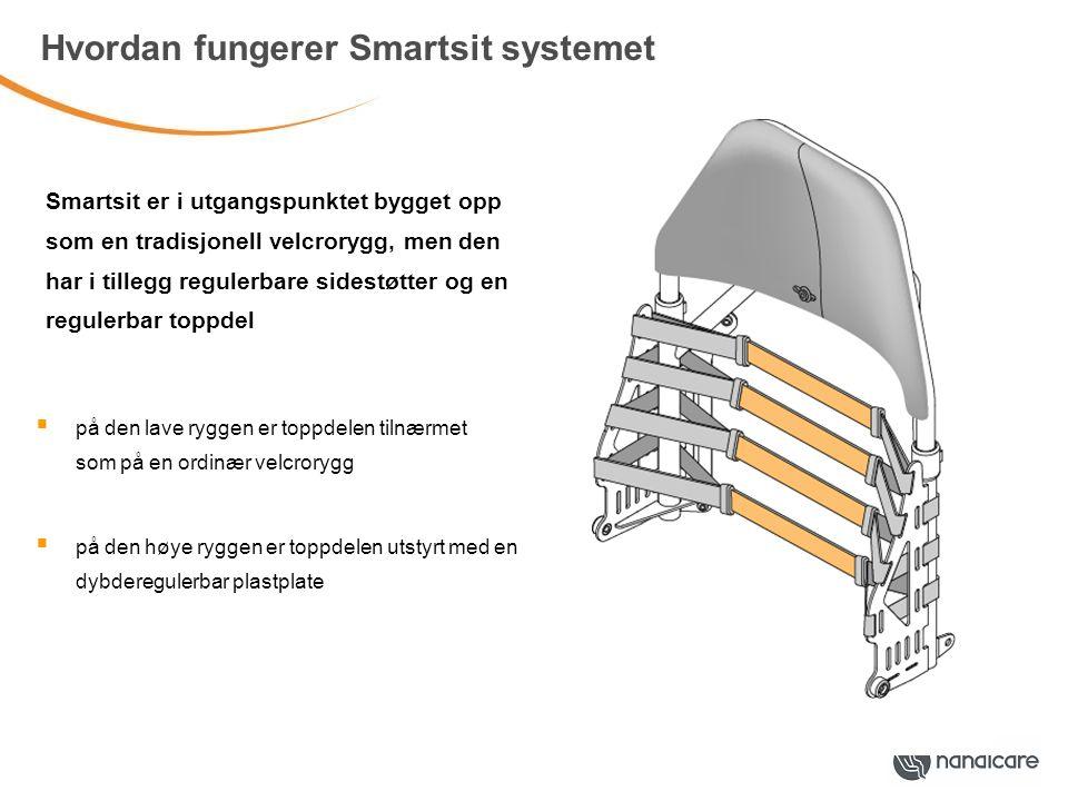 Hvordan fungerer Smartsit systemet  på den lave ryggen er toppdelen tilnærmet som på en ordinær velcrorygg  på den høye ryggen er toppdelen utstyrt med en dybderegulerbar plastplate Smartsit er i utgangspunktet bygget opp som en tradisjonell velcrorygg, men den har i tillegg regulerbare sidestøtter og en regulerbar toppdel