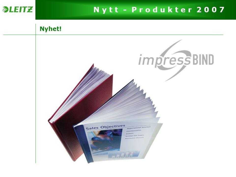 Side 13 N y t t - P r o d u k t e r 2 0 0 7 Design & Finesser Én maskin til alle omslag -Binder inn alle omslag fra 3,5 til 28 mm, kan også bruke gamle omslag fra AA–G -Binder inn opptil 280 sider (80 g), derfor navnet impressBIND 280 Pris -Samme pris som channelBIND 300 Ingen forhåndsinnstillinger er nødvendig -Maskinen stiller seg selv inn i etter hvilket omslag som brukes Maksimalt 2 press er nødvendig -Maskinen forteller deg når dokumentet er ferdig innbundet ved å vise deg en grønn markering Guide for å vise omslagsstørrelse -Måler tykkelsen på dokumentet og viser hvilken omslagstørrelse som skal brukes (3,5-28 mm)