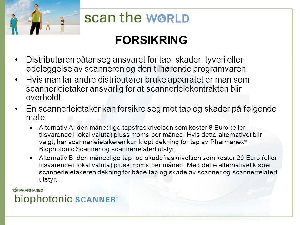 FORSIKRING •Distributøren påtar seg ansvaret for tap, skader, tyveri eller ødeleggelse av scanneren og den tilhørende programvaren.