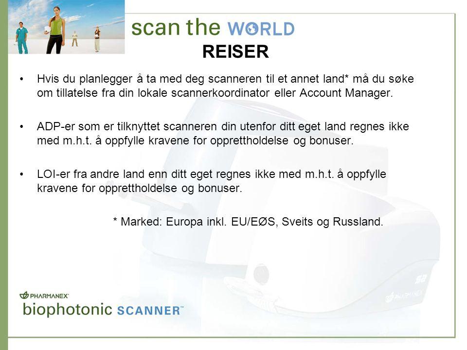 REISER •Hvis du planlegger å ta med deg scanneren til et annet land* må du søke om tillatelse fra din lokale scannerkoordinator eller Account Manager.