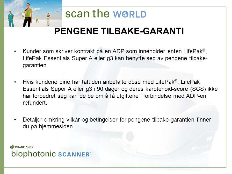 PENGENE TILBAKE-GARANTI •Kunder som skriver kontrakt på en ADP som inneholder enten LifePak ®, LifePak Essentials Super A eller g3 kan benytte seg av pengene tilbake- garantien.
