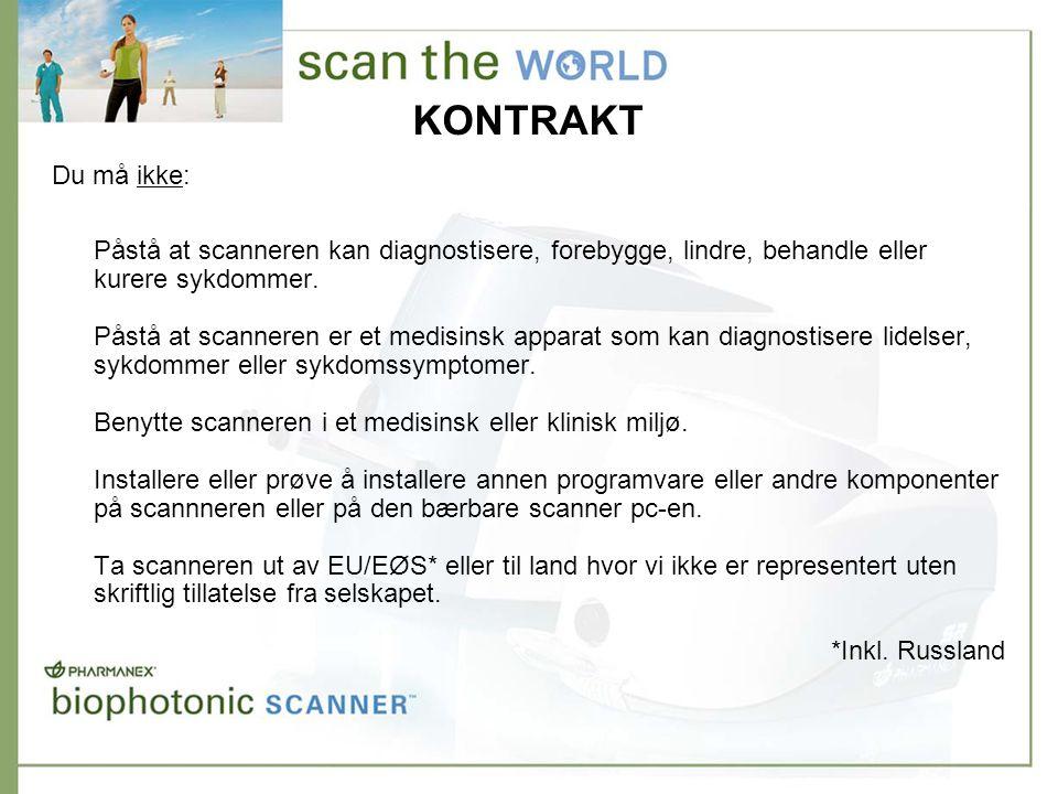 KONTRAKT Påstå at scanneren kan diagnostisere, forebygge, lindre, behandle eller kurere sykdommer.