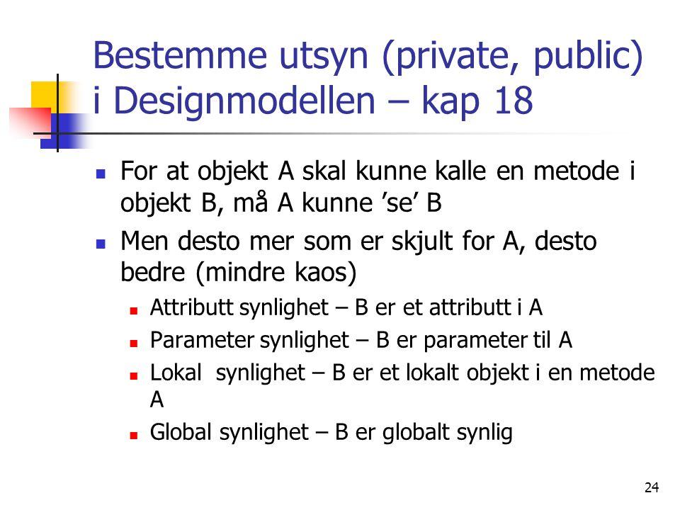 24 Bestemme utsyn (private, public) i Designmodellen – kap 18  For at objekt A skal kunne kalle en metode i objekt B, må A kunne 'se' B  Men desto mer som er skjult for A, desto bedre (mindre kaos)  Attributt synlighet – B er et attributt i A  Parameter synlighet – B er parameter til A  Lokal synlighet – B er et lokalt objekt i en metode A  Global synlighet – B er globalt synlig