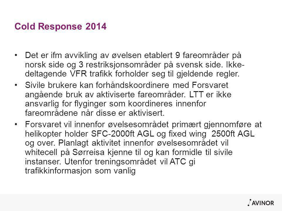 Cold Response 2014 •Det er ifm avvikling av øvelsen etablert 9 fareområder på norsk side og 3 restriksjonsområder på svensk side. Ikke- deltagende VFR