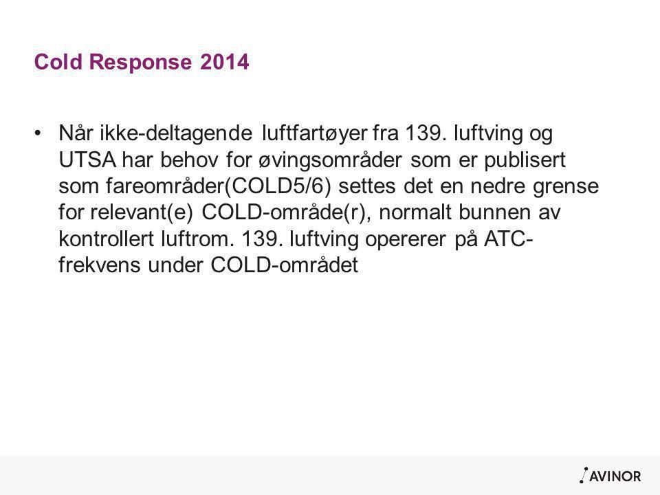 Cold Response 2014 •Når ikke-deltagende luftfartøyer fra 139. luftving og UTSA har behov for øvingsområder som er publisert som fareområder(COLD5/6) s