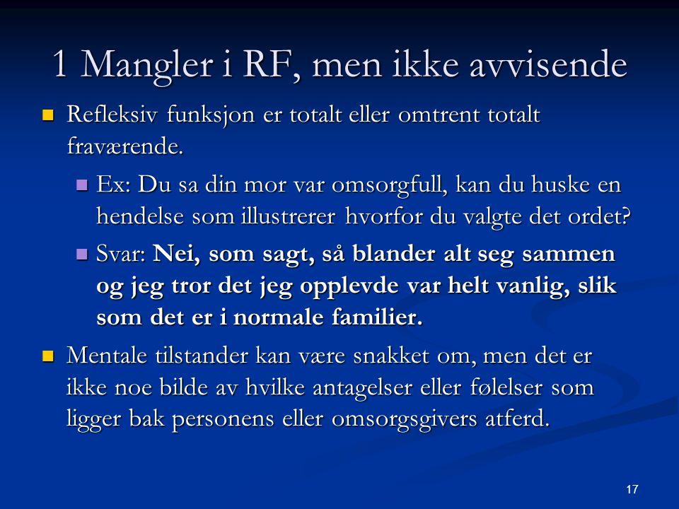 17 1 Mangler i RF, men ikke avvisende  Refleksiv funksjon er totalt eller omtrent totalt fraværende.