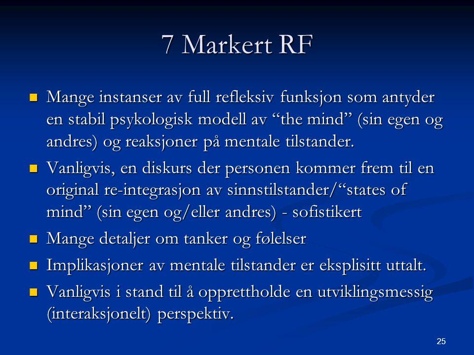 25 7 Markert RF  Mange instanser av full refleksiv funksjon som antyder en stabil psykologisk modell av the mind (sin egen og andres) og reaksjoner på mentale tilstander.