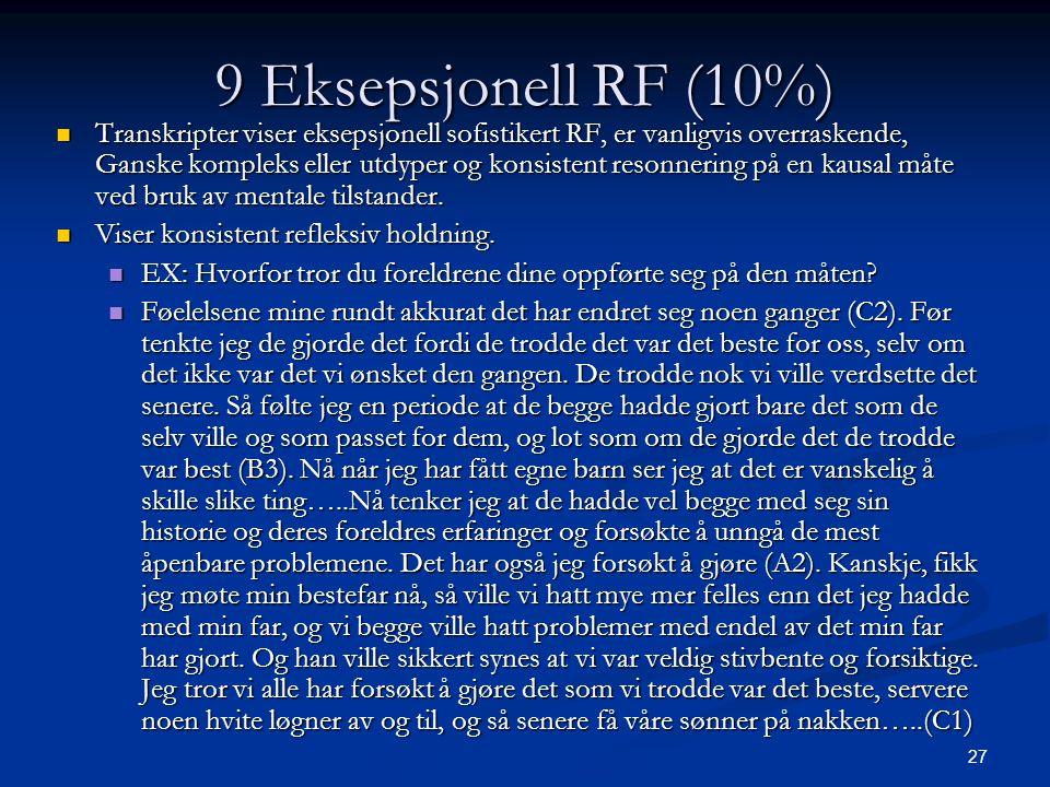 27 9 Eksepsjonell RF (10%)  Transkripter viser eksepsjonell sofistikert RF, er vanligvis overraskende, Ganske kompleks eller utdyper og konsistent resonnering på en kausal måte ved bruk av mentale tilstander.