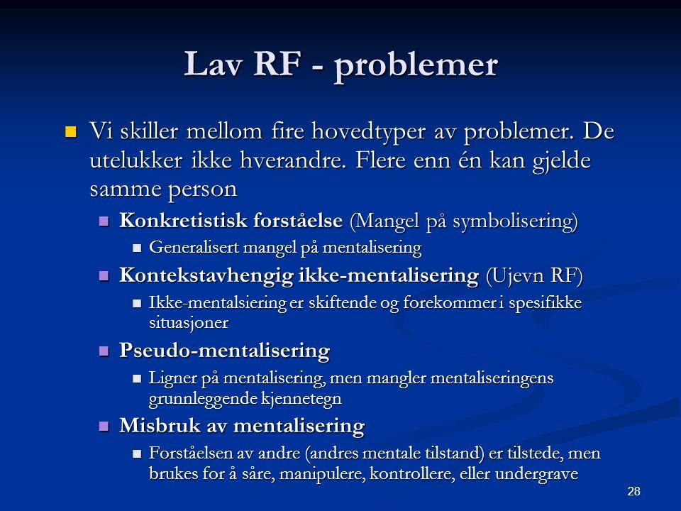 28 Lav RF - problemer  Vi skiller mellom fire hovedtyper av problemer.