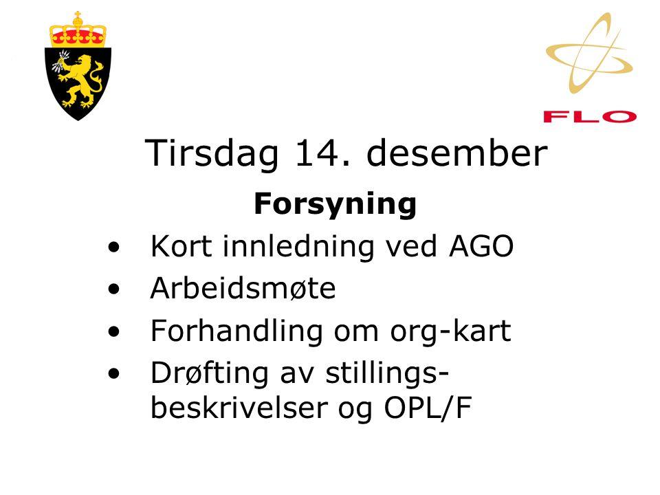 Mandag 13. desember Vedlikehold •Forhandling om org-kart •Drøfting av stillings- beskrivelser og OPL/F