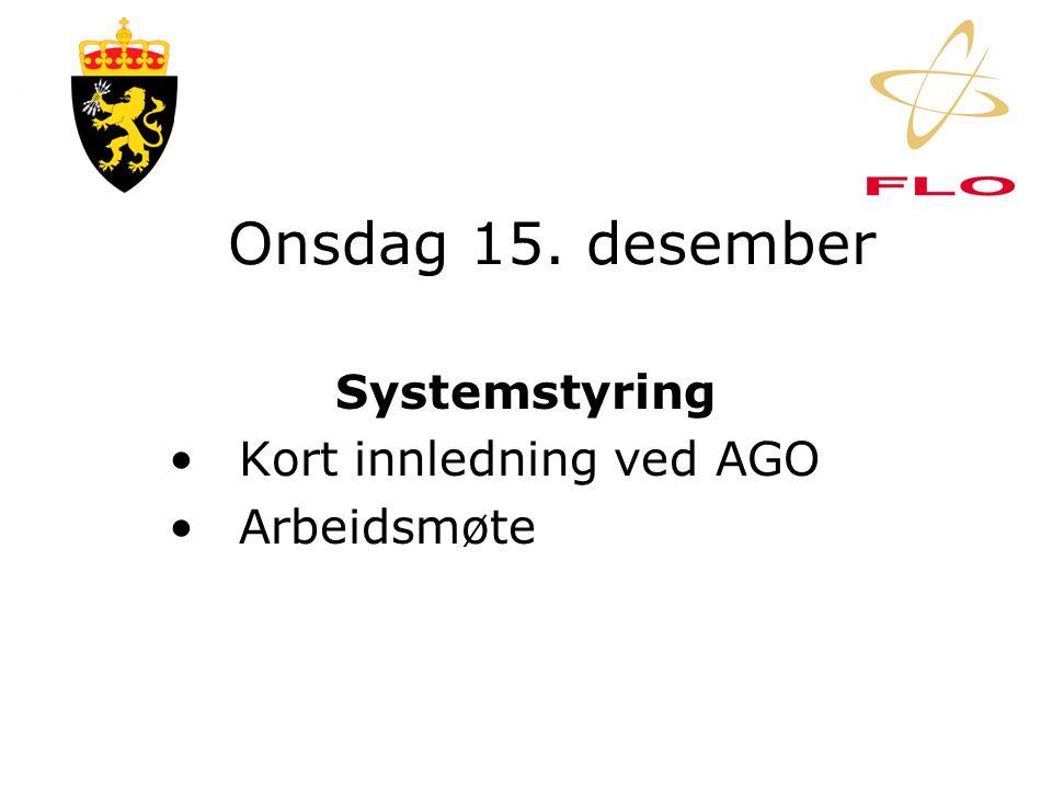 Tirsdag 14. desember Forsyning •Kort innledning ved AGO •Arbeidsmøte •Forhandling om org-kart •Drøfting av stillings- beskrivelser og OPL/F