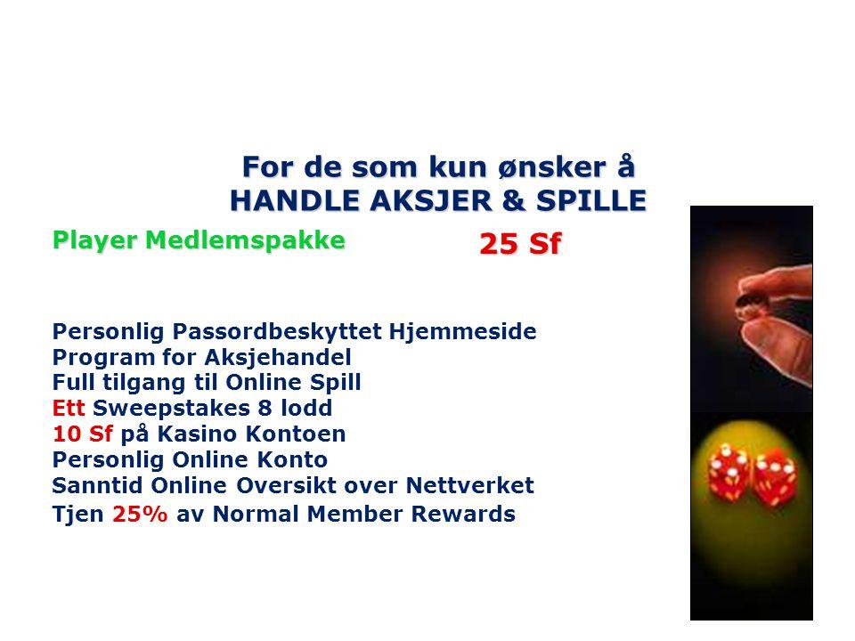 For de som kun ønsker å HANDLE AKSJER & SPILLE Player Medlemspakke Personlig Passordbeskyttet Hjemmeside Program for Aksjehandel Full tilgang til Onli